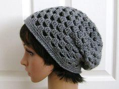 Crocheted Slouch Beanie Hat  GrayCrochet Slouchy by RoseJasmine, $20.00
