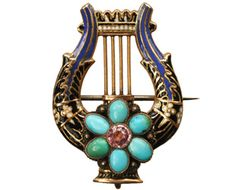 1830s enamel turquoise and topaz lyre brooch