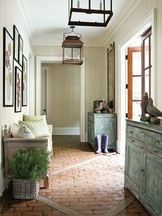 wood, floors, light fixtures, mud rooms, foyer, bricks, hallway, lanterns, entryway