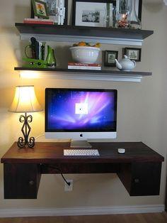 floating desk diy--great space saver