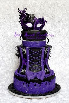 masquerad cake, bachelorette parties, purple, corsets, wedding cakes, mask, masquerades, sweet sixteen cakes, birthday cakes