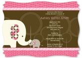 Pink Baby Elephant - Personalized Baby Shower Invitations With Squiggle Shape