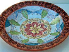 hand painted ceramic pottery flower bowl majolica by VickieDumas, $57.00