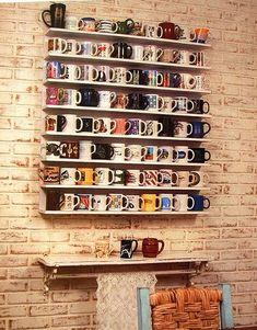 coffee nook, wall displays, coffee decor kitchen, coffee cup display, coffee cups, coffee mug display, coffee house decor, coffee cup shelves, display coffee mugs