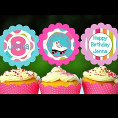 Roller Skating Party CUPCAKE TOPPERS skate birthday