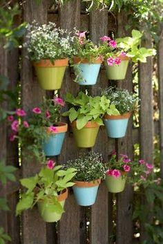 garden ideas, painted pots, privacy fences, herbs garden, flower pots, flowers, backyards, wall planters, hanging pots