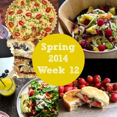 Seasonal weekly meal plan with a vegetable quiche, two salads, and two fruit + cheese + basil grilled cheese sandwiches | Rainbow Delicious