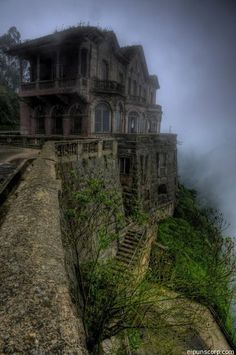 """""""Haunted Hotel"""" at Tequendama Falls, Colombia. The name of this hotel is Hotel del Salto. It is an old hotel and abandoned and its old design makes it look like little haunted."""