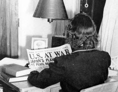 Student at the Florida State College for Women reading about the Pearl Harbor Attack in Tallahassee, Florida, December 1941.