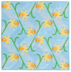 Daffodils paper piecing pattern, in:  A Paper-Pieced Garden by Francoise Maarse and Maaike Bakker (Martingale) print version, garden print, paperpiec garden, martingal, gardens, papers, paper piec, ebook bundl, prints