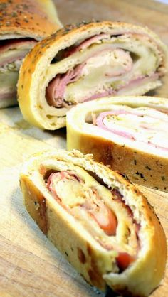 Chicken Cordon Bleu Pizza Roll Up A trip to the deli for lunch meat and sliced cheese, combined with a ball of pizza dough (recipe in the post) and you have everything you need for this crowd pleasing Sandwich... EASY and Spectacular looking, all the tastes of the classic recipe gives you a new twist in a pizza! And can feed a crowd