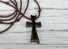 Handmade Wooden Cross Necklace in Ziricote by TheLotusShop on Etsy, $16.95