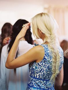 fashion weeks, long hair, tory burch, blond, the dress, hairstyl, new york fashion, braid hair, fishtail braids
