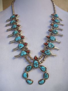 Elegant Vintage NAVAJO Turquoise & Coral SQUASH BLOSSOM Necklace, with Sterling Silver 5mm Bench Beads