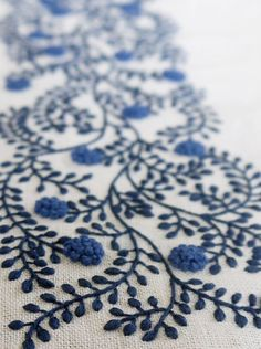 higuchi embroideri, embroideri detail, embroidery patterns, blue flowers, stitching patterns, yumiko higuchi, blues, flower patterns, embroidery designs