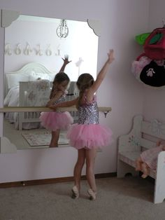 Someday when our house is bigger or her room is bigger! Ballet Mirror and bar Cute idea! Girls room must!! This girl is adorable!! --- we have had the mirror for a while, but Ive been looking for a bar!! I totally want this in my daughters room and she does too!!