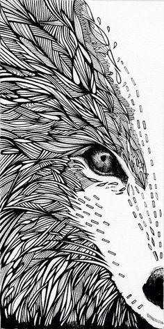henna print, corfield, zentangl, draw, a2 art, wolf, doodl anim, art prints, illustr