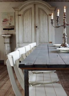 wooden chairs, dining rooms, shabby chic furniture, armoir, decorating ideas, shabby chic decorating, chic home decor, farm tabl, dining tables