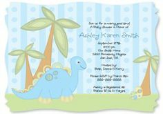 Baby Boy Dinosaur - Personalized Baby Shower Invitations With Squiggle Shape