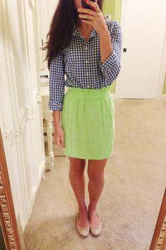 gingham, skirt, flats