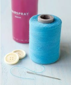 Thread a needle quickly by hair-spraying the string's end to prevent it from fraying and raising your frustration level.