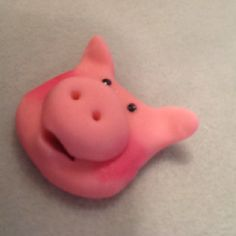 Fondant pig piggy piglet by Elaine Hayes Brown on Facebook completely edible made out of fondant, no gumpaste. Cake decoration or cupcake decor. Pinned via Pinterest for iPhone