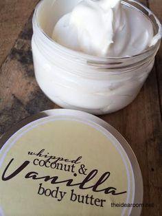 Coconut & Vanilla Whipped Body Butter Recipe | theidearoom.net whip coconut, vanilla body butter diy, bodi butter, diy whip, diy bodybutter, whip bodi, whipped body butter, vanilla bodi, sugar scrubs