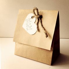 Heart Kraft Favor Pouches - Handmade - Natural wedding bags - paper goods - Rustic wedding favor - Kraft wedding favor on Etsy, $1.50