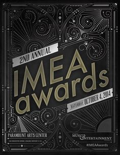 2nd Annual IMEA Awards on October 4, 2014 at the Paramount Arts Center in Ashland, Kentucky! / poster / ornate / lettering