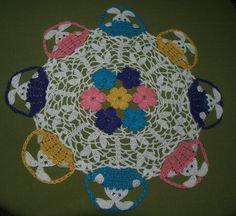 Easter Peeking Bunnies In Baskets Doily  Crochet Pattern. $4.95, via Etsy.