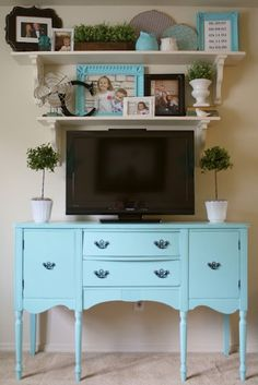 A Diamond in the Stuff: Living Room Makeover Open Shelving I love the way she has styled around the TV so it becomes part of the decor, more for the bedroom because there is not enough room for all my game consoles..