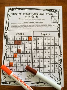 Trick or Treat Pairs and Trios will really get them thinking as they search for 2 or 3 numbers that add to 31. More No Prep Math Games in Halloween Math Games Third Grade $
