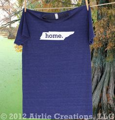 Tennessee Home State Tee Shirt  via Etsy.---CUTE!