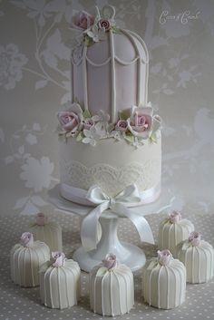 pink desserts, cupcak, birdcag cake, pastel colours, mini wedding, cake frosting, wedding cakes, birdcage cake, mini cakes