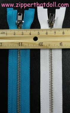 "Zipper That Doll - Doll Jacket (separating) zippers in 5"", 6"" and 8"" lengths."