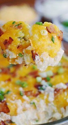 "Cauliflower ""just like"" Loaded Baked Potato Casserole"