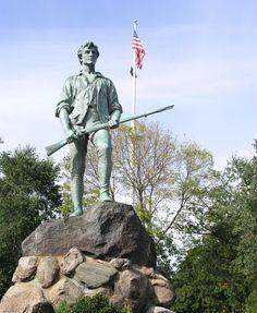 Minuteman statue in Lexington, Massachusetts USA