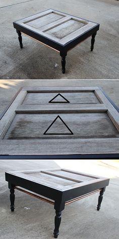 DIY Coffee Table Of Old Exterior Door