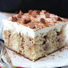 Cinnamon Roll Poke Cake - like eating a cinnamon roll in cake form! Easy and so yummy!