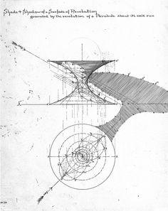 Frank Lloyd Wright, 'Descriptive Geometry' class drawing