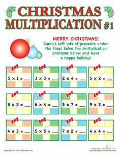 Worksheets: Christmas Multiplication #1