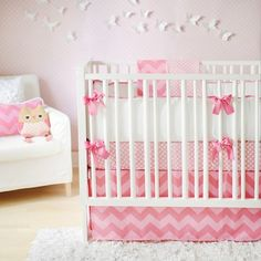Zig Zag Baby Bedding- Pink Sugar