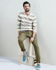 Olive Green Stripe Sweater, Olive Green Chinos, and Blue Suede Sneakers. Men's Spring Summer Fashion.