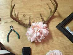 $27.41  Decorative Deer Antlers With Beautiful Pink Flowers. Wall Or Table Accent  girls hunt too