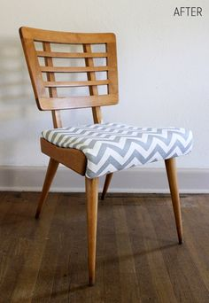 vintage chairs, chevron patterns, upholstered chairs, retro design, chair makeover