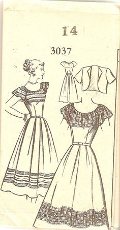 1940s Misses Fitted Peasant Dress Pattern Bust 32 by CherryCorners,