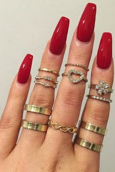 Red Nails and Rings