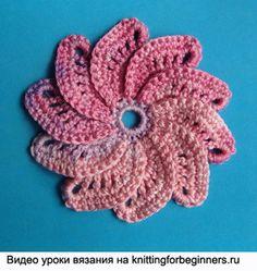 punto flores de ganchillo flor, mayor flor del ganchillo, flor espiral crochet, ganchillo video tutorial