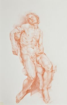 Bernini evokes Michelangelo, red chalk drawing of Thyssen St Sebastian     from danikainthesun, via Flickr red chalk, chalk drawings, st sebastian, pencil drawings