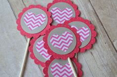 Pink Chevron and Hearts Cupcake Toppers for Girl Birthday Party. $9.95, via Etsy.